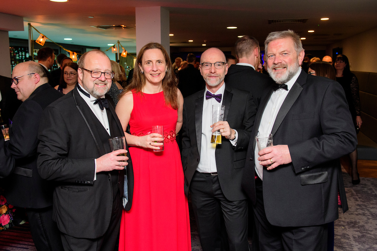 Group of people holding drinks during The Greater Lincolnshire Construction and Property Awards 2020