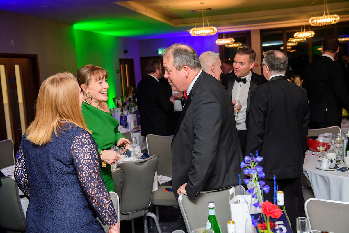 Group of people in eveningwear standing and talking at The Greater Lincolnshire Construction and Property Awards 2020