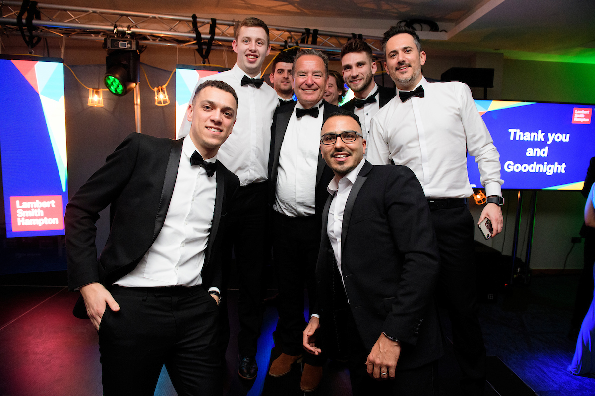 Group of men posing with host Jeff Stelling at The Greater Lincolnshire Construction and Property Awards 2020