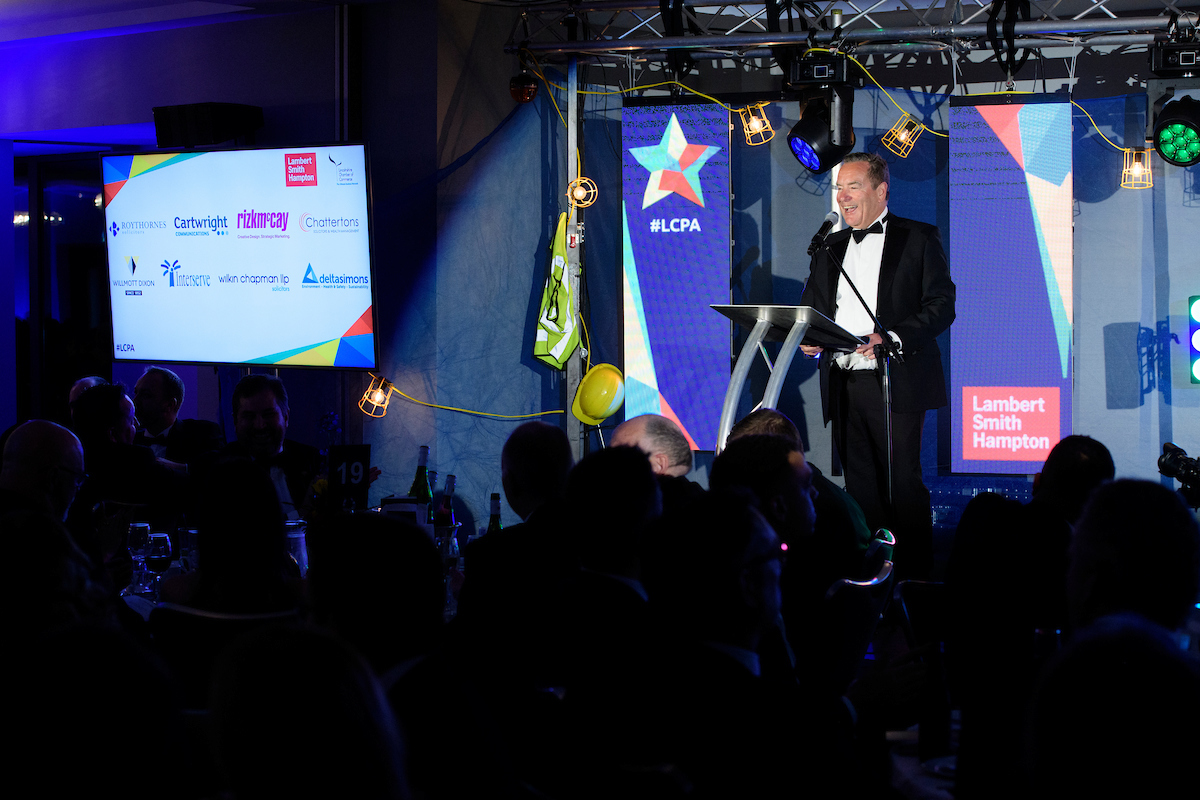 Greater Lincolnshire Construction & Property Awards 2020 host Jeff Stelling on stage with microphone