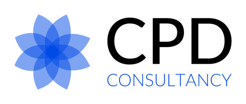 White background with blue and black logo and text CPD Consultancy