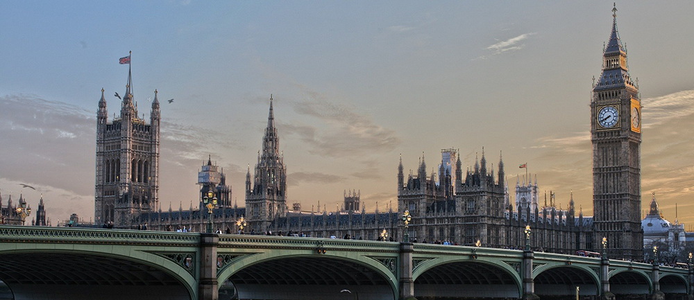Picture of the British parliament governmental building over London Bridge
