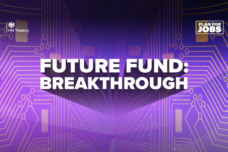 Purple background with text Future Fund Breakthrough and logos