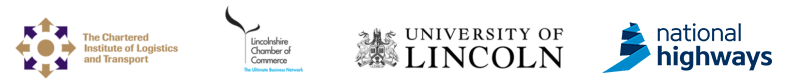 Logos of CILT, Lincolnshire Chamber of Commerce, University of Lincoln and National Highways