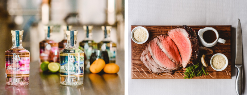 Collage of two pictures - on the left bottles of gin by Massingberd-Mundy and on the right a slab of cut beef with knife on cutting board