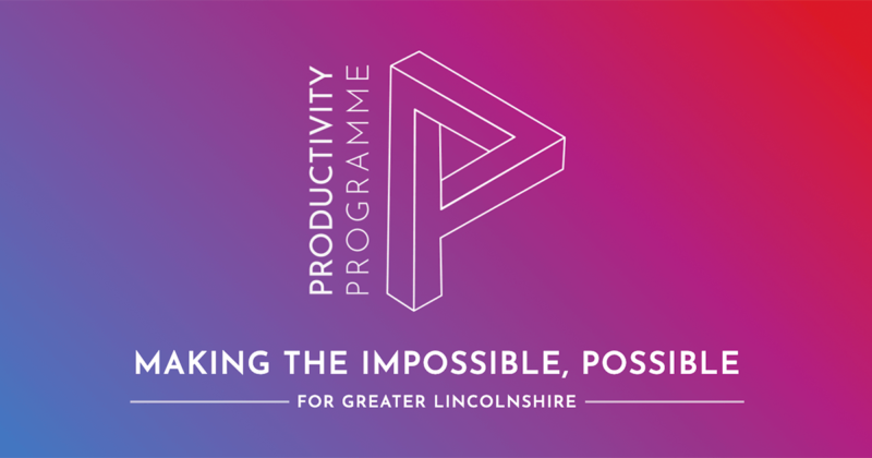Purple pink and orange gradient background with white Productivity Programme logo